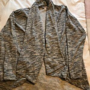 Gray marled open fleece blazer